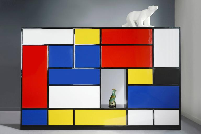 Hand-Crafted Le Mondrian Sideboard High Lacquered with 16 Adjustable Drawers For Sale