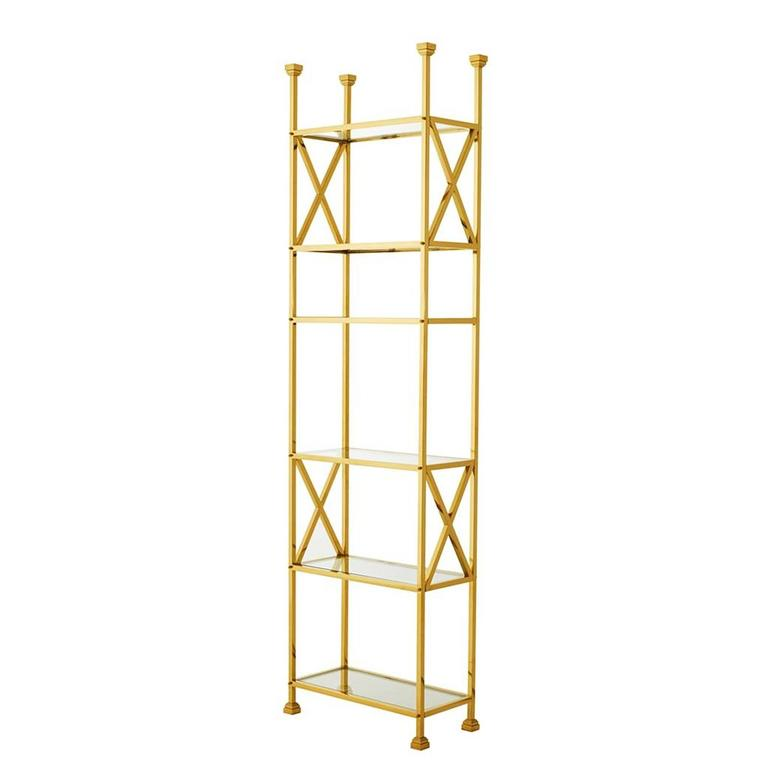 Romain Bookshelves in Gold Finish with Clear Glass