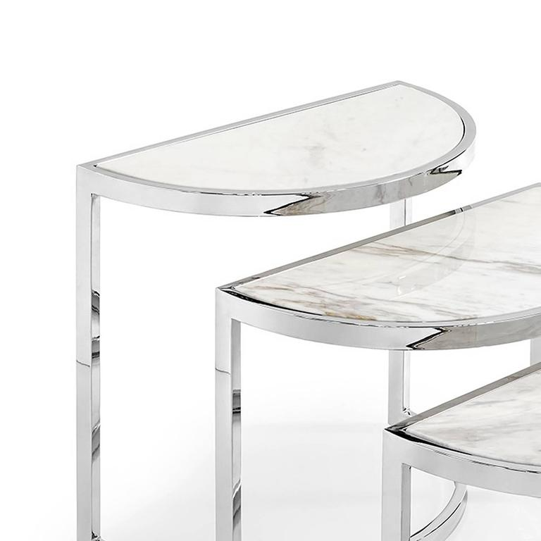 High Quality Italian Half Moon Side Table Set Of Three With White Marble Top Or Glass  Top For