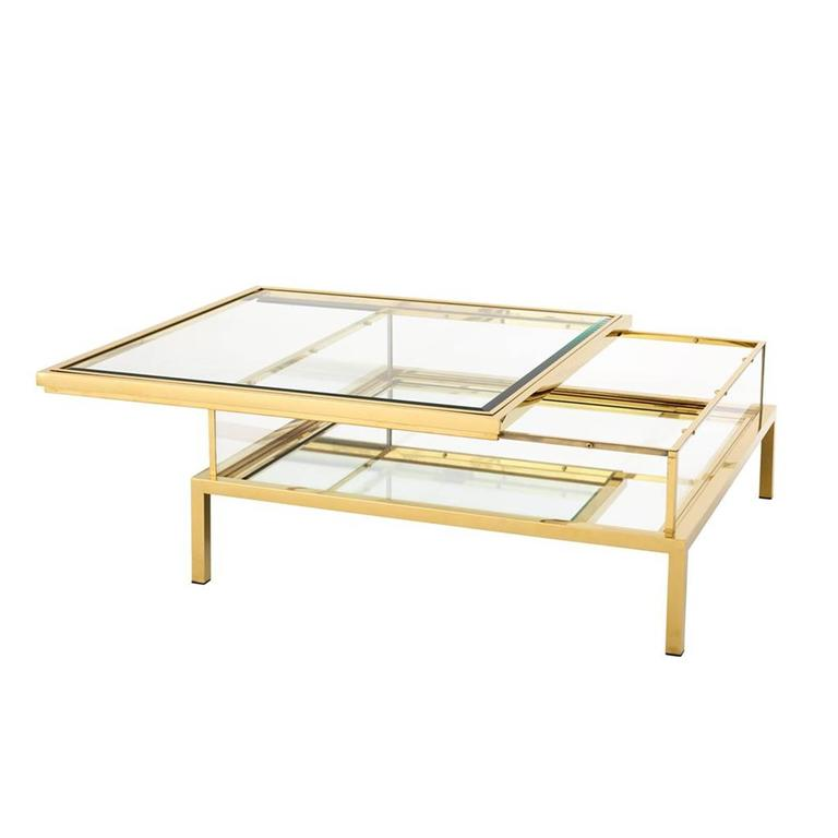 Slide Square Coffee Table In Gold Finish With Clear Glass And Sliding Top For Sale At 1stdibs