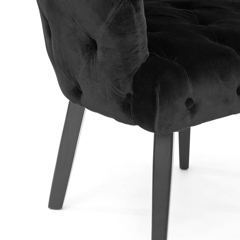 Home Capiton Chair In Grey, Purple Or Black Velvet Fabric For Sale 3