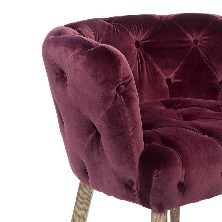 Home Capiton Chair In Grey, Purple Or Black Velvet Fabric In Excellent  Condition For Sale
