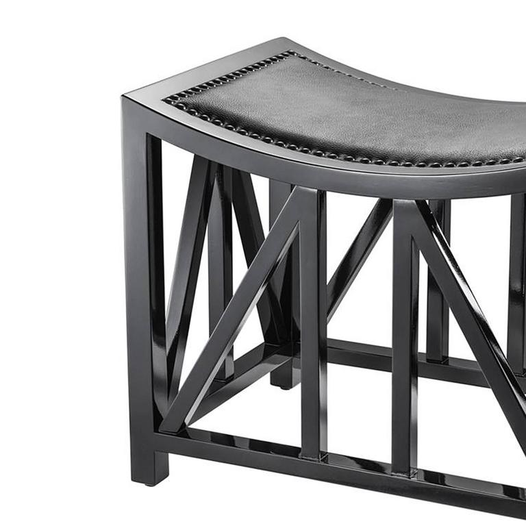 Dutch Lautner Stool in Solid Mahogany Wood Black Lacquered For Sale
