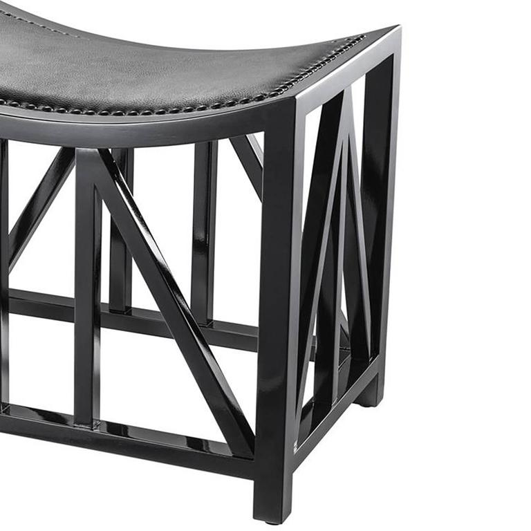 Hand-Crafted Lautner Stool in Solid Mahogany Wood Black Lacquered For Sale