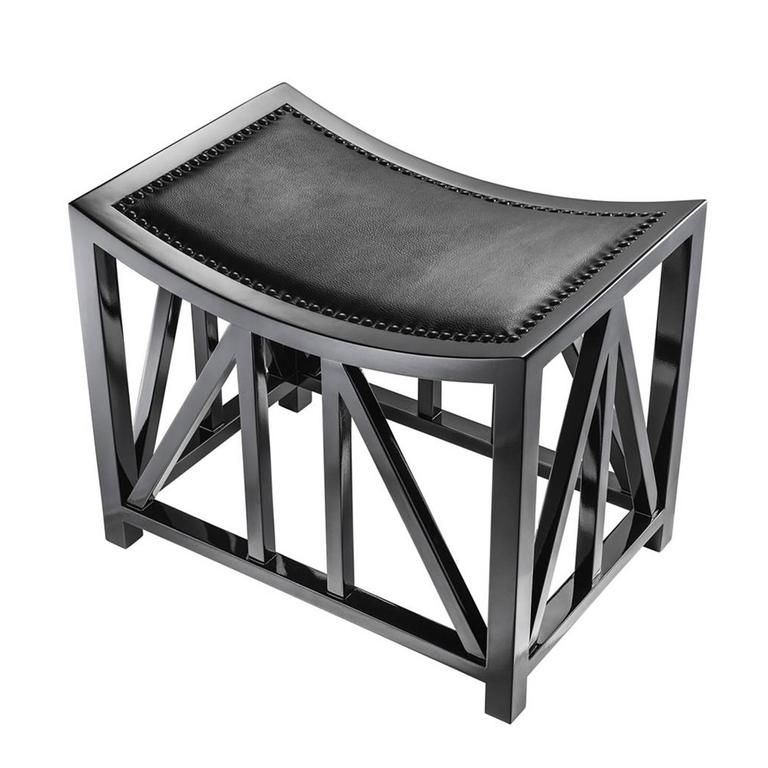 Stool Lautner in solid mahogany wood in black lacquered piano finish with genuine leather seat and black nails.