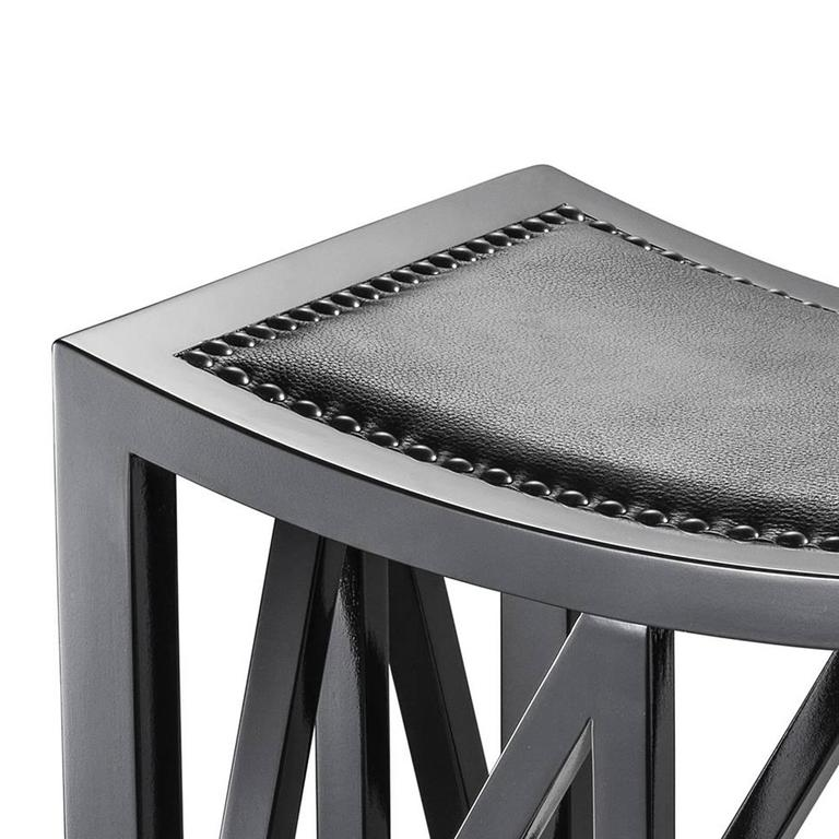 Lautner Stool in Solid Mahogany Wood Black Lacquered In Excellent Condition For Sale In Paris, FR
