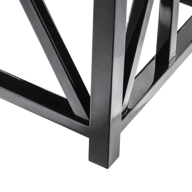 Contemporary Lautner Stool in Solid Mahogany Wood Black Lacquered For Sale