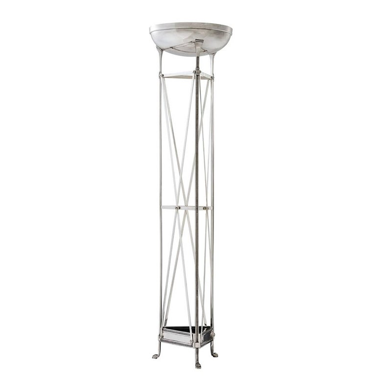Axel Floor Lamp in Antique Silver Plated or Bronze Finish For Sale