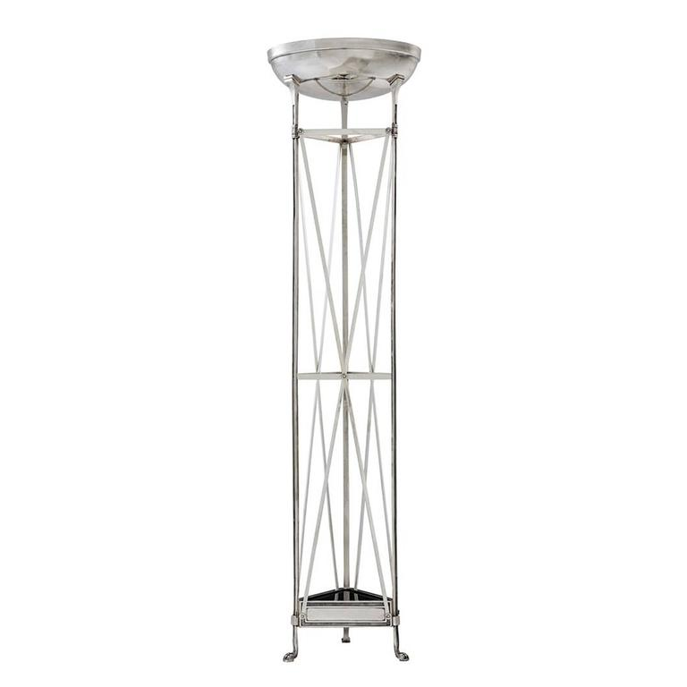 Floor lamp Axel with structure in antique silver plated. Two bulbs lamp holder type E27, max 40 watt. Also available with structure in gunmetal bronze finish.