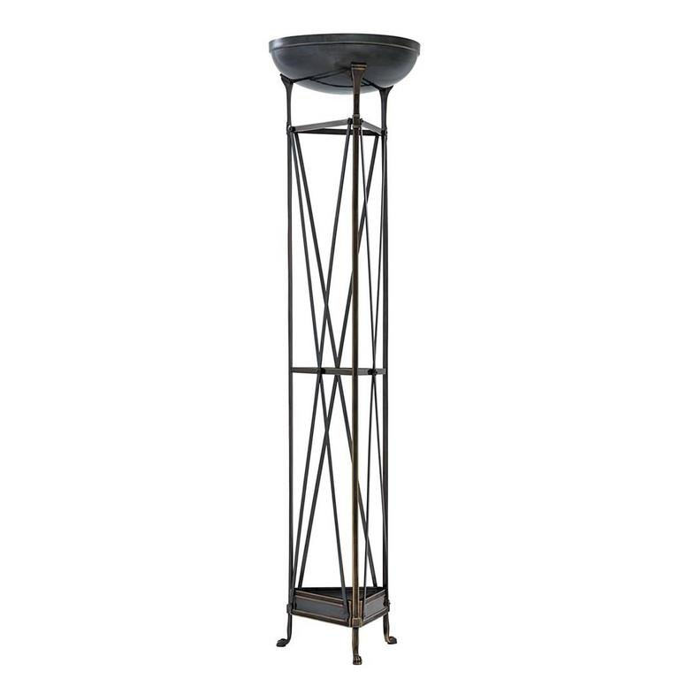 Contemporary Axel Floor Lamp in Antique Silver Plated or Bronze Finish For Sale