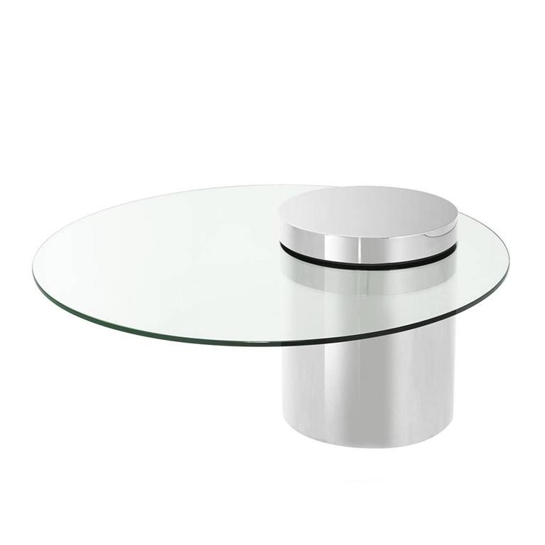 Balance Coffee Table in Polished Stainless Steel Finish with Glass Top For Sale