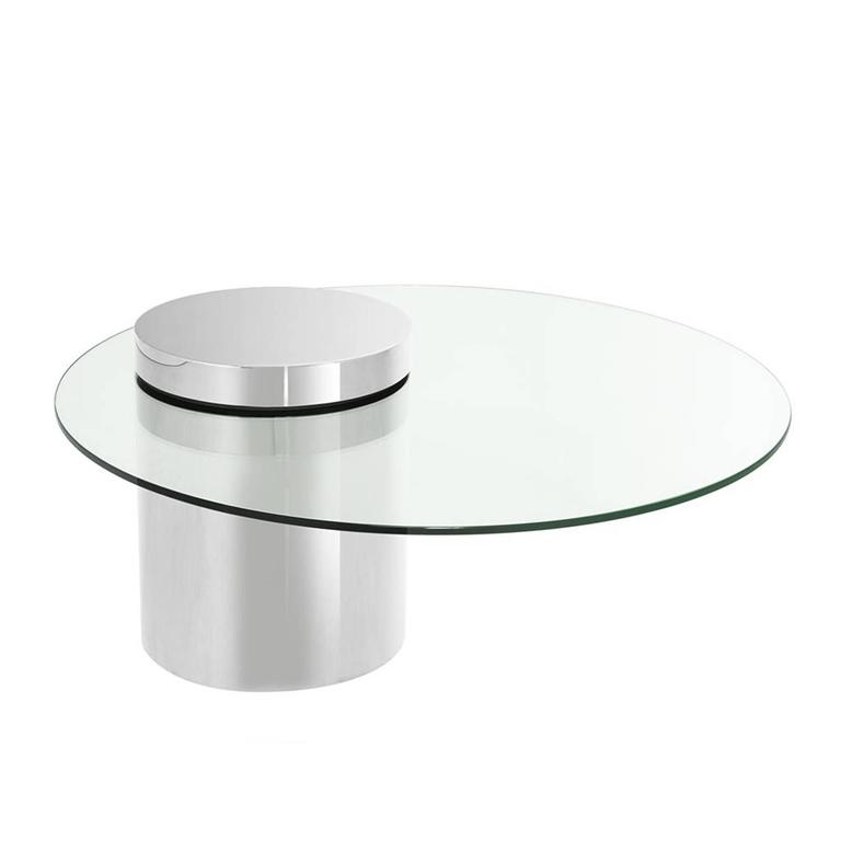 Balance Coffee Table In Polished Stainless Steel Finish With Glass Top For Sale At 1stdibs