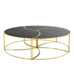 Helix Coffee Table Set of Five in Gold Finish