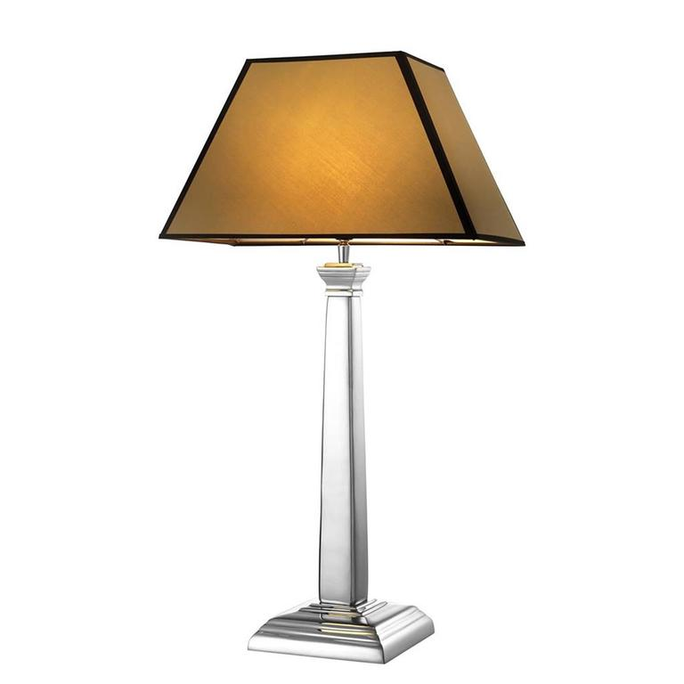 Mikaela Table Lamp in Nickel Finish with Camel Shade