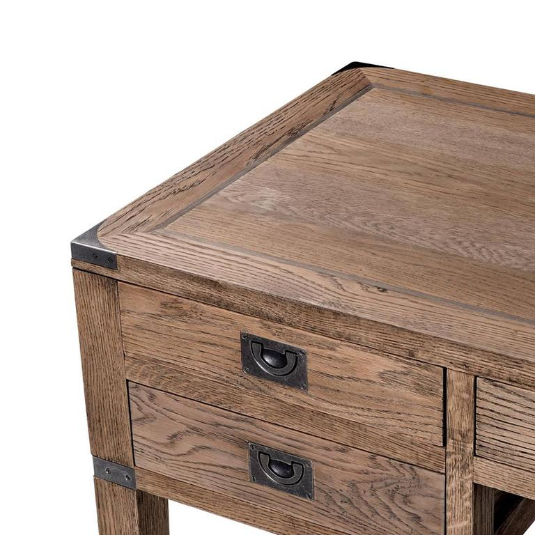 Desk GI in solid oak smoked finish with gunmetal