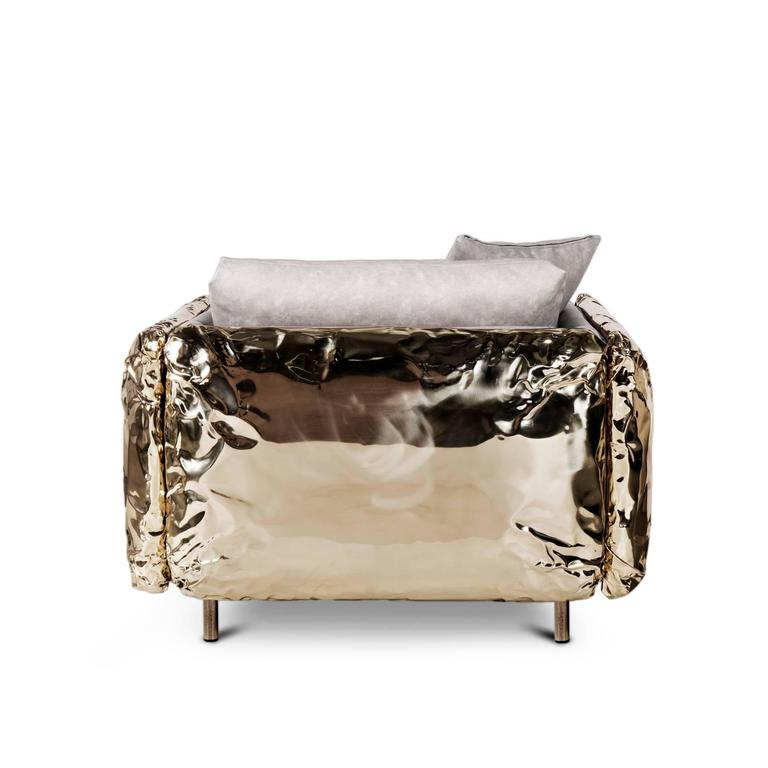 Contemporary Gold Safe Armchair with Hammered Polished Brass For Sale