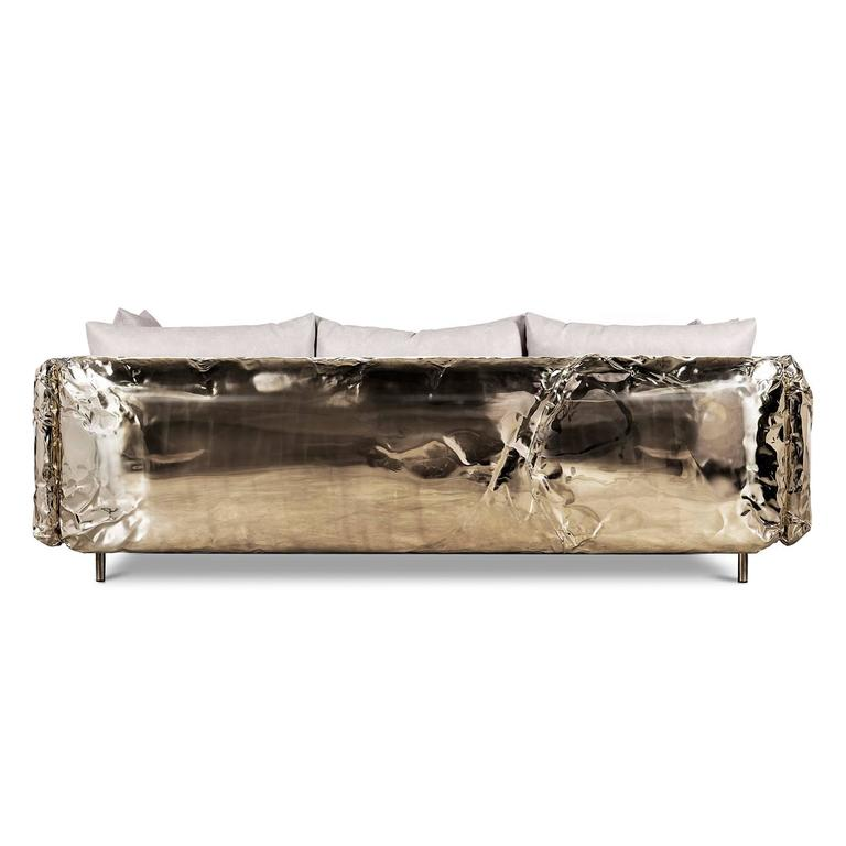 Portuguese Gold Safe Sofa with Hammered Polished Brass For Sale