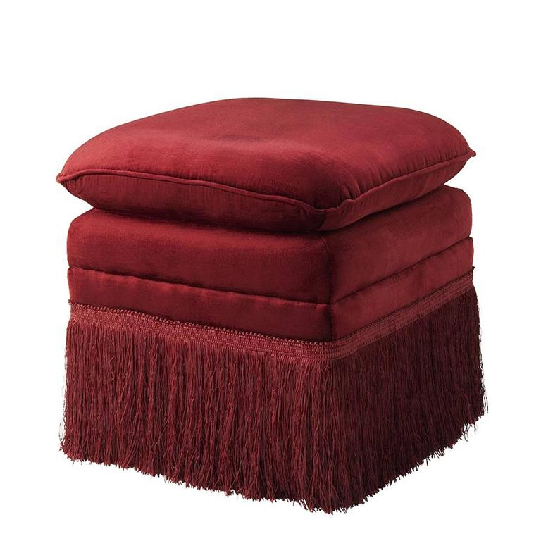 Palace Stool in Red or Black or Blue Essex Fabric with Fringe