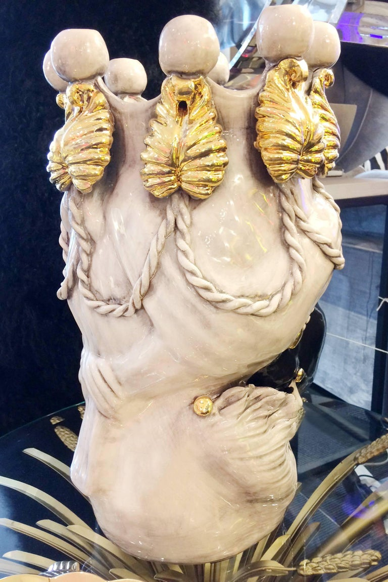 Valet Moro Woman Vase and Candleholder in Ceramic and Gold For Sale 2