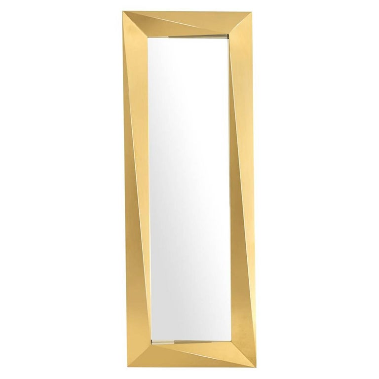 Mirror Axis With Glass And Frame In Gold Finish Or Polished Stainless Steel