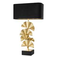 Ginko Biloba Leaves Table Lamp in Polished Brass