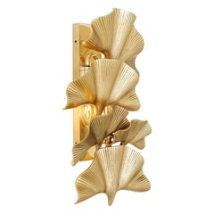 Ginko Biloba Leaves Wall Lamp in Polished Brass