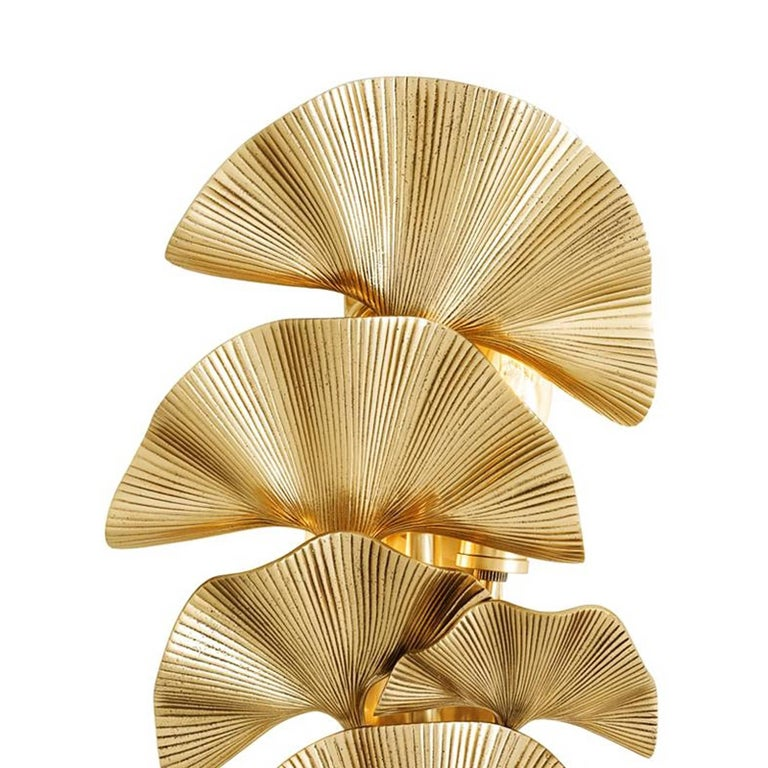 Ginko Biloba Leaves Wall Lamp in Polished Brass For Sale at 1stdibs