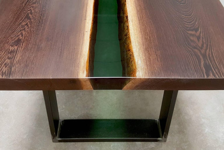 Emerald Forest Dinning Table or Conference Table in Wenge Wood and Resin For Sale 2