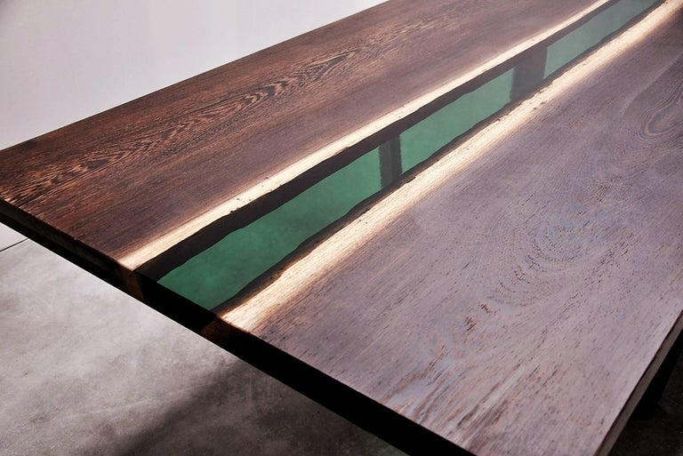 Emerald Forest Dinning Table or Conference Table in Wenge Wood and Resin In Excellent Condition For Sale In Paris, FR