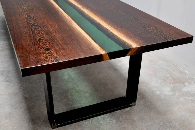 Emerald Forest Dinning Table or Conference Table in Wenge Wood and Resin For Sale 3