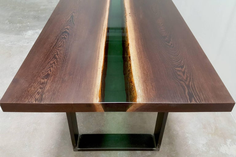 Emerald Forest Dinning Table or Conference Table in Wenge Wood and Resin For Sale 1