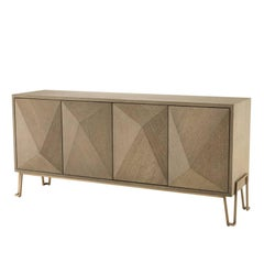 Catalaga Sideboard in Washed Oak Veneer and Brass Finish