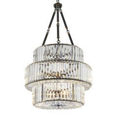 Round Triple Chandelier Gunmetal and Clear Glass