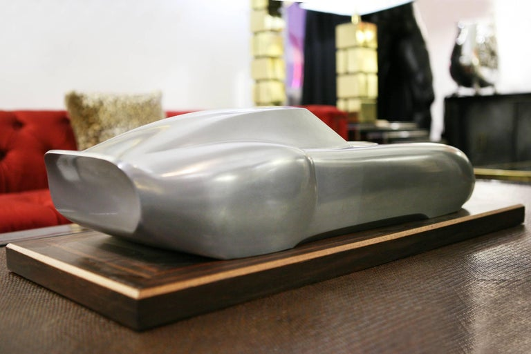 Ferrari 250 GTO Sculpture in Cold Casted Aluminum on Ebony Base In Excellent Condition In Paris, FR