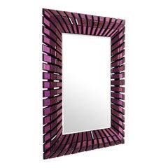 Eclipse Mirror with Purple Bevelled Mirror Glass
