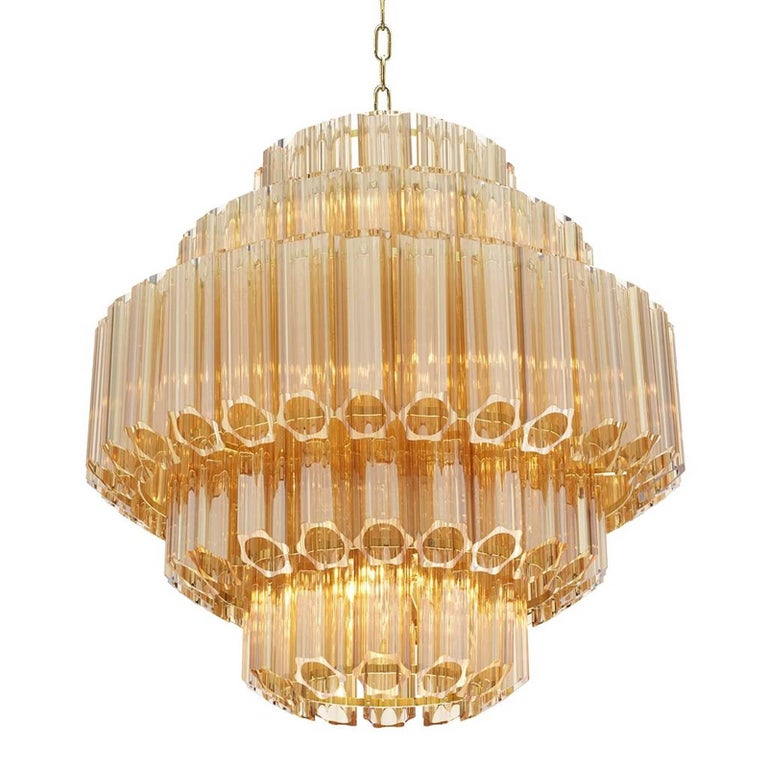 Vitta Gold Chandelier in Gold Glass and Gold Finish For Sale at 1stdibs