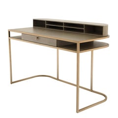 Catalaga Desk in Washed Oak Veneer and Brass
