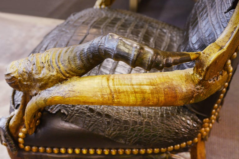 Black Croco Armchair With Alligator Skin And Real Horns