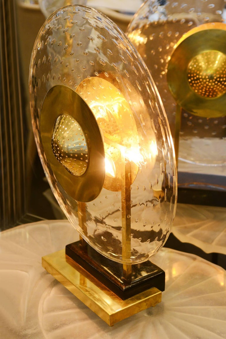 Hand-Crafted Discus Table Lamp in Murano Glass For Sale