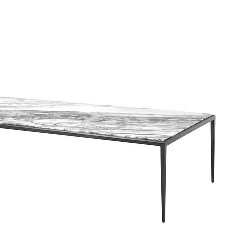 Leggy coffee table in bronze finish with white or brown for White coffee table with brown top