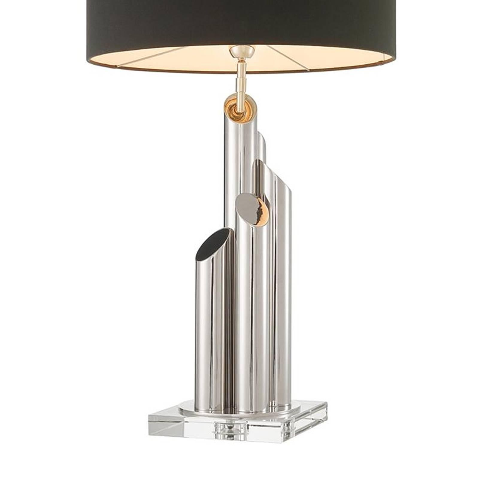 Glazed Tubes Nickel Table Lamp In Nickel Finish On Crystal Glass Base For  Sale