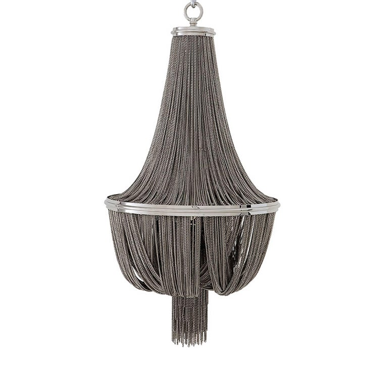 Brass Grand Hotel Round Chandelier with Hanging Chains in Gold Tones or Nickel Finish For Sale