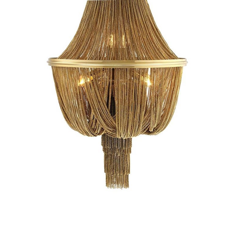 Indian Grand Hotel Round Chandelier with Hanging Chains in Gold Tones or Nickel Finish For Sale