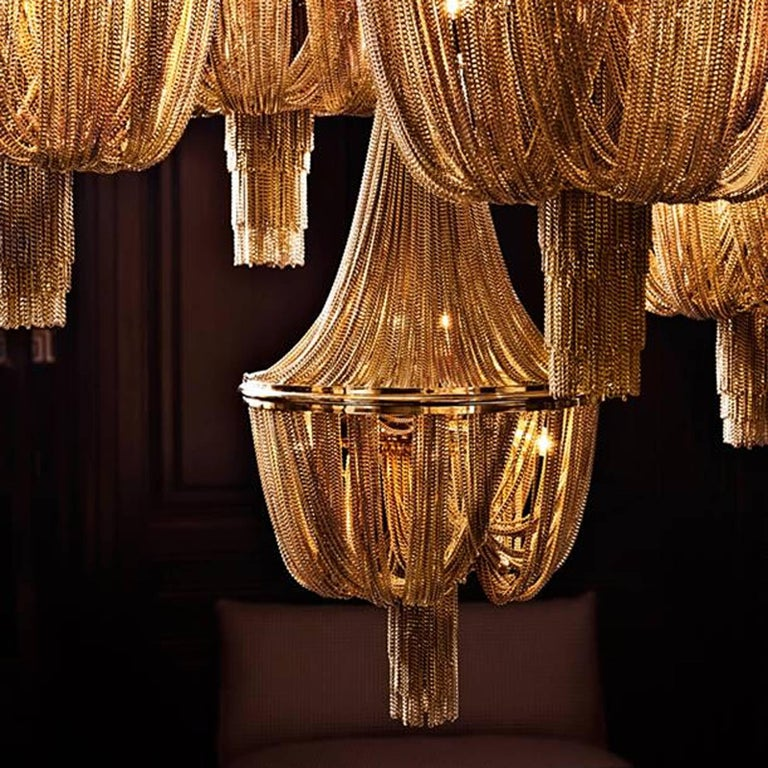 Contemporary Grand Hotel Round Chandelier with Hanging Chains in Gold Tones or Nickel Finish For Sale