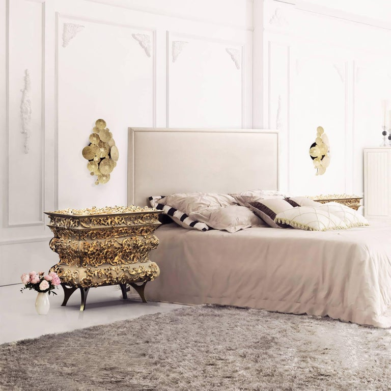 Vinci Nightstand in Wood and Brass and Gold Leaf For Sale 2