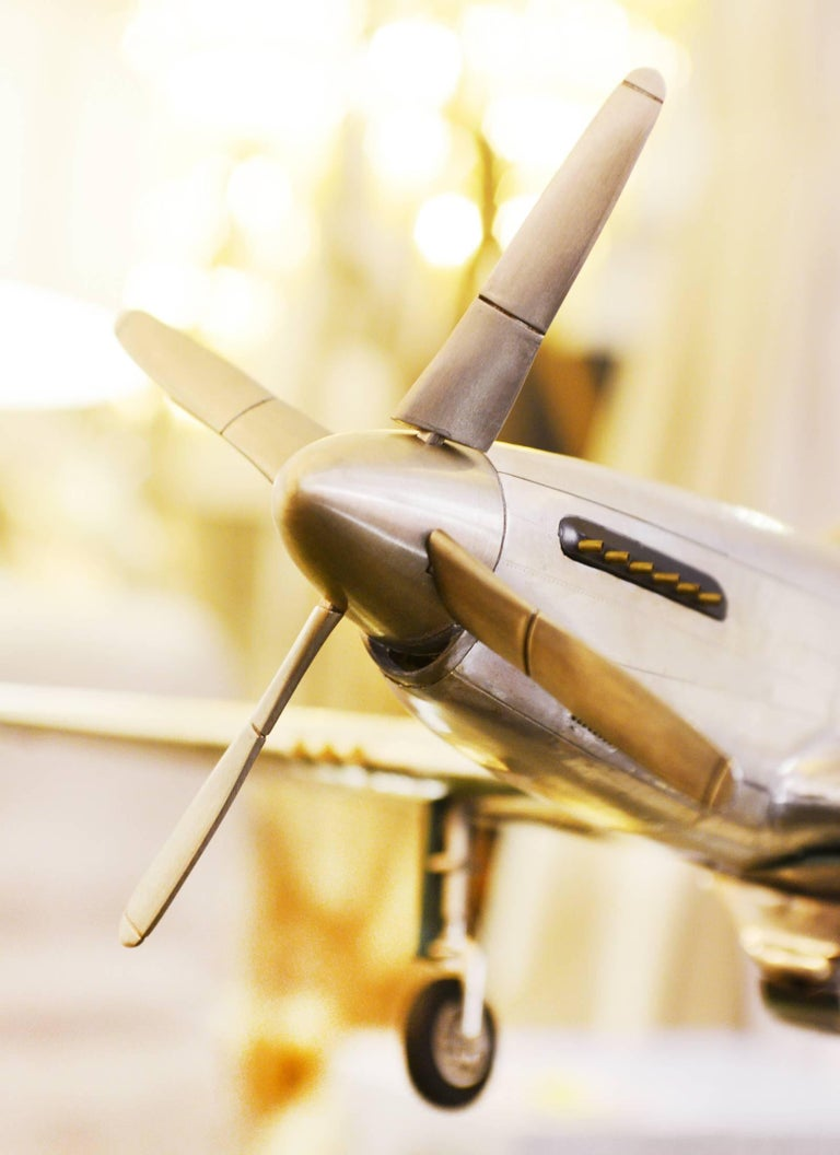 Contemporary Mustang P51 Aircraft Model in Aluminium Foil For Sale
