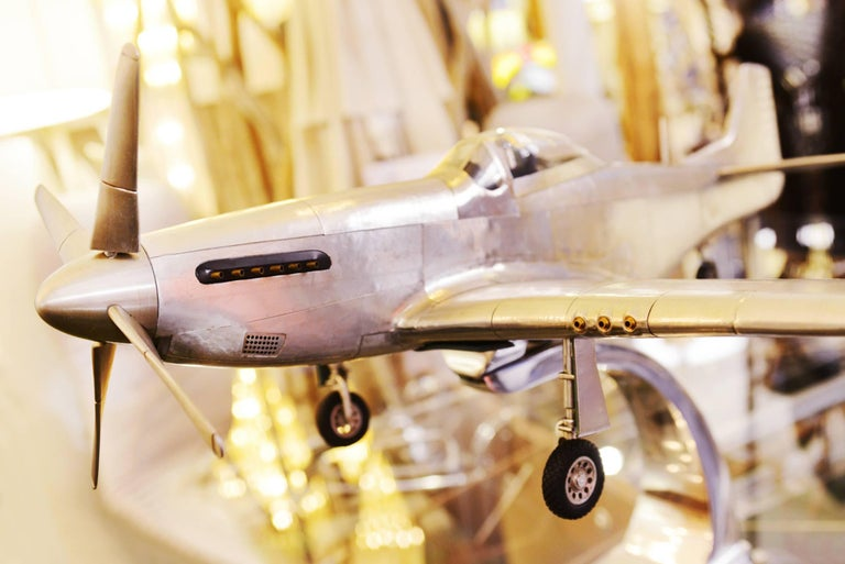 Polished Mustang P51 Aircraft Model in Aluminium Foil For Sale