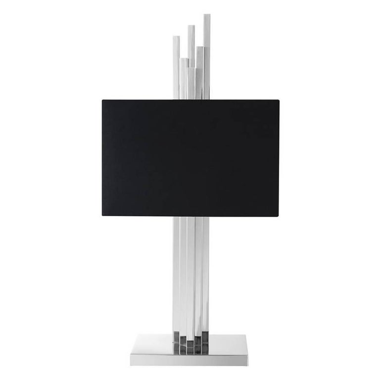 Stainless Steel Strada Table Lamp in Gold or Nickel Finish For Sale