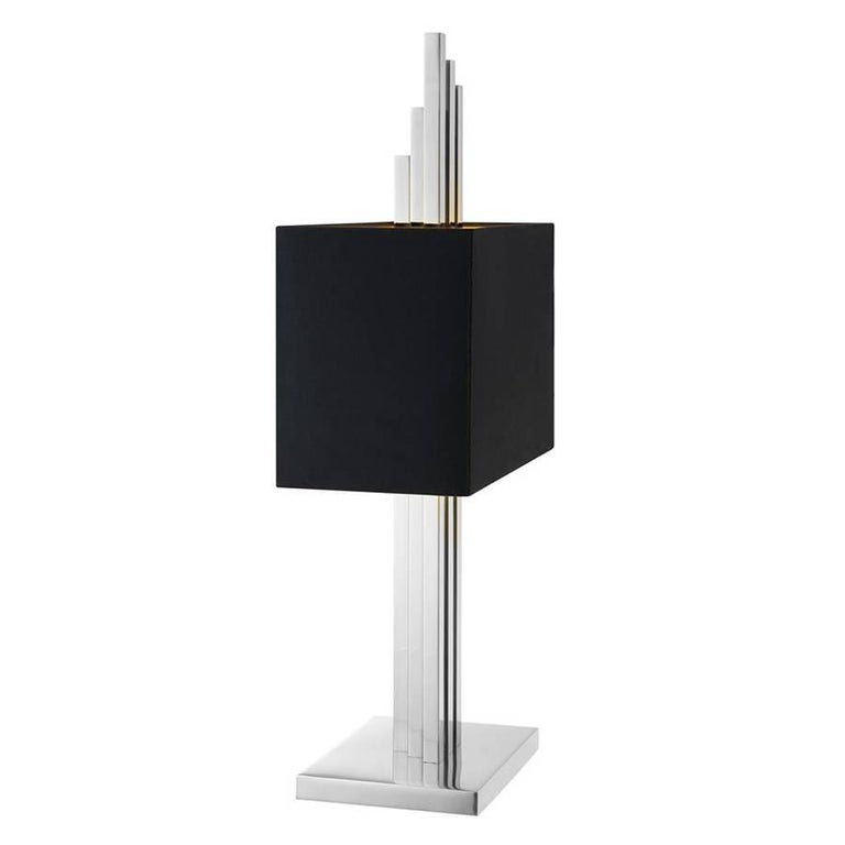 Strada Table Lamp in Gold or Nickel Finish For Sale 1