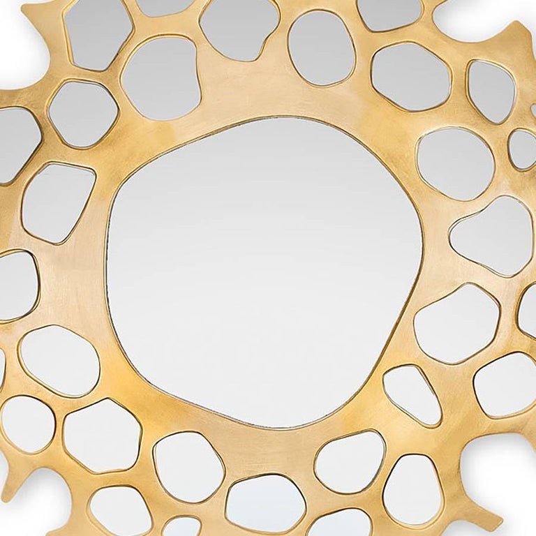 Hand-Carved Gold Pearl Mirror with Gold Leaf For Sale